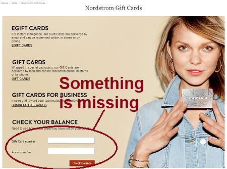 Let's get back to checking that balance on my gift card. When I looked at the website there was a form field in which I was to enter the card number.