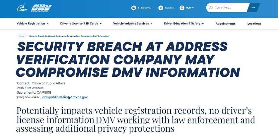 California DMV Breach Drives Data Of Millions To The Dark Web